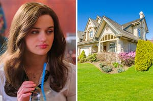 """On the left, Joey King as Elle in """"The Kissing Booth 2,"""" and on the right, a luxury house on a hill with a garden out front"""