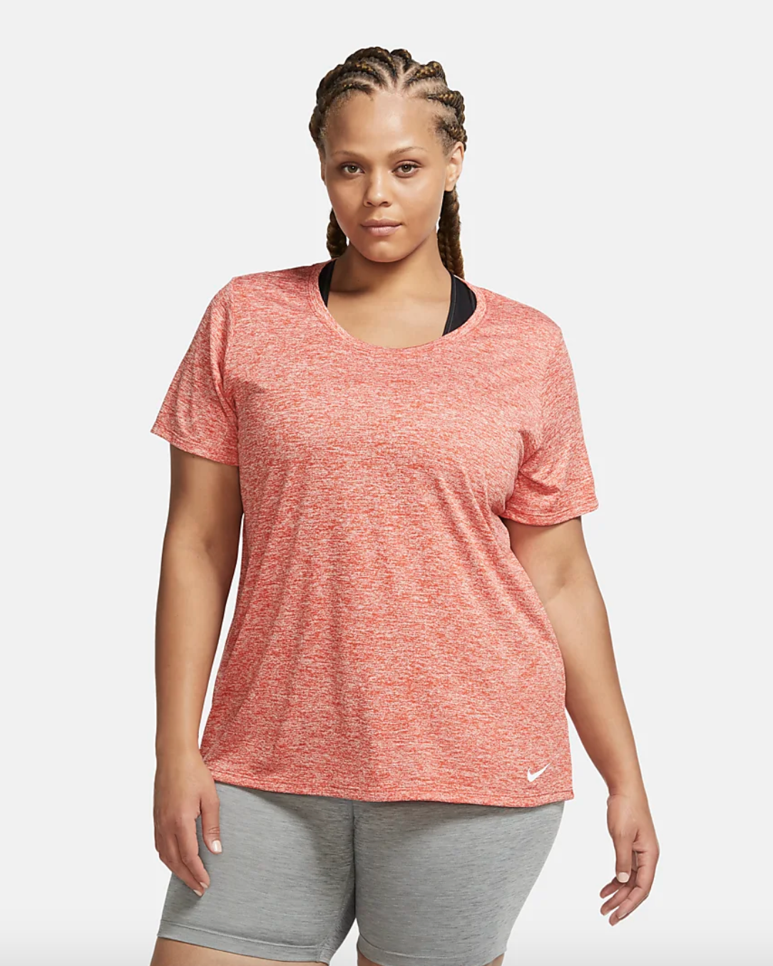 Model wearing the shirt in pink
