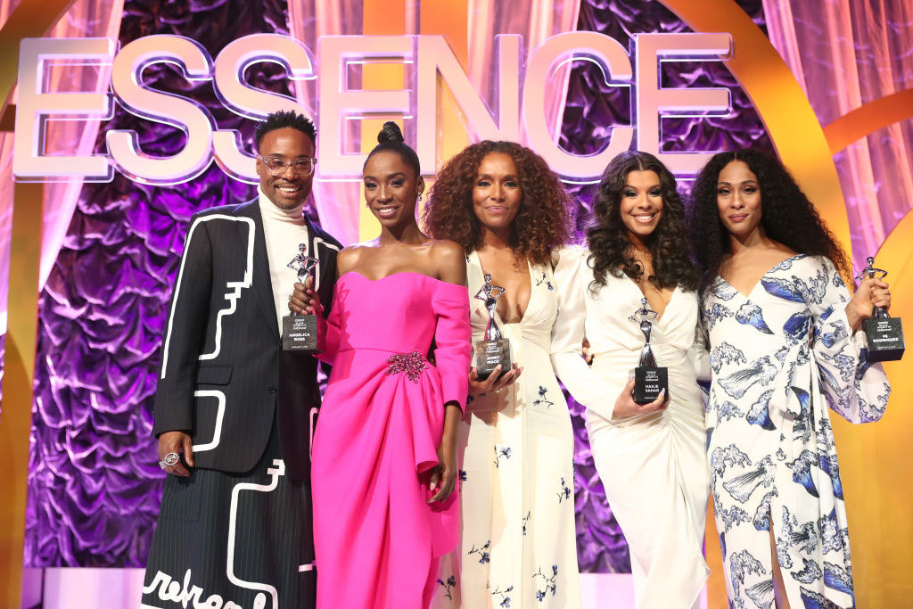 Billy Porter, Angelica Ross, Janet Mock, Hailie Sahar and Mj Rodriguez pose onstage at the Annual Essence Black Women in Hollywood luncheon