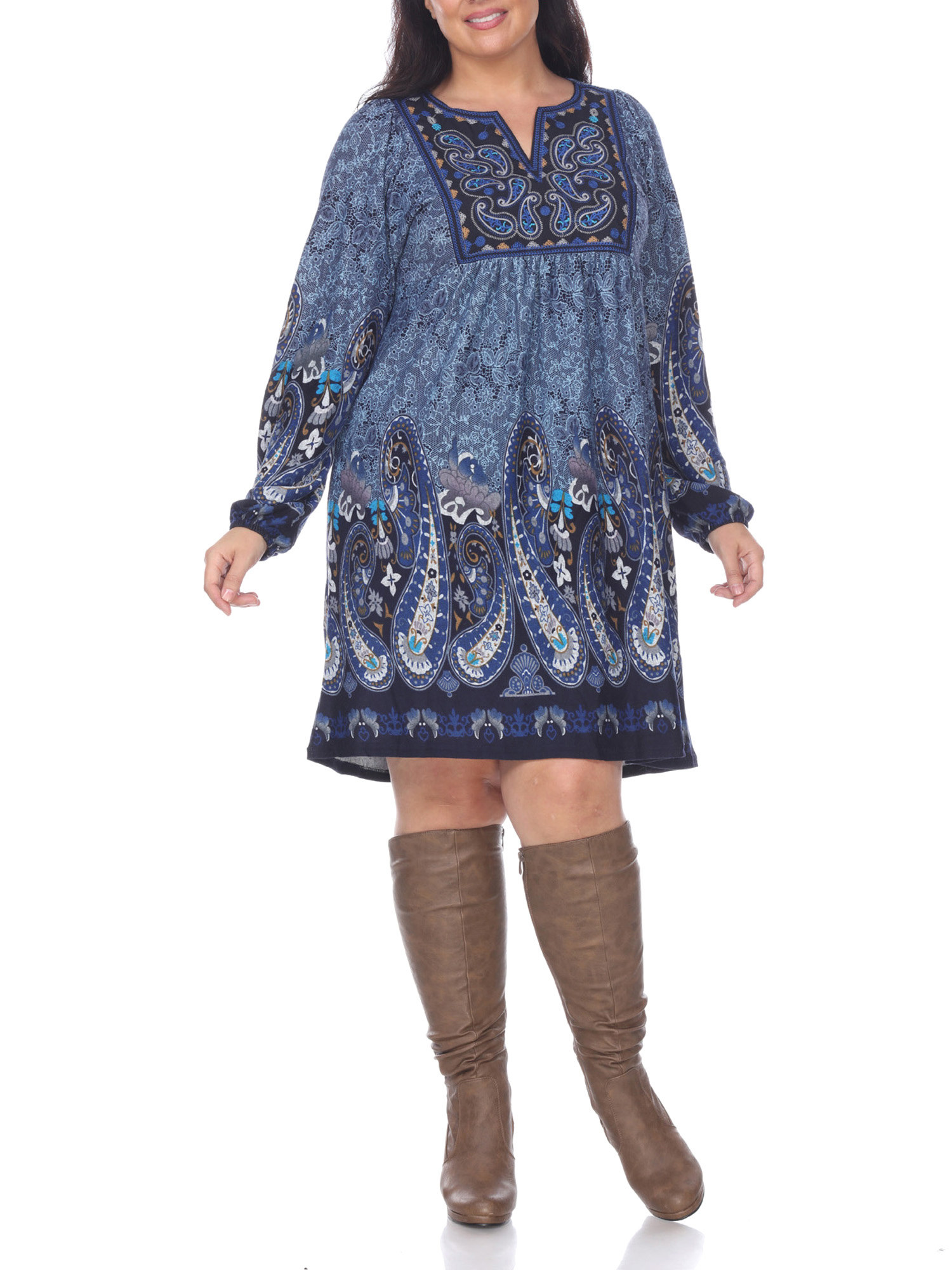 model in a blue paisley dress with long sleeves