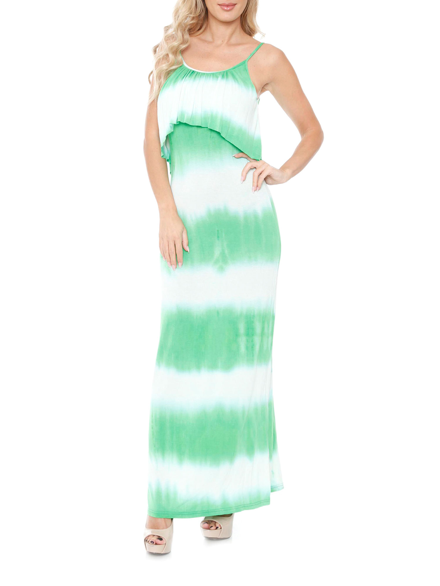 model in a maxi dress with green and white tie dye stripes