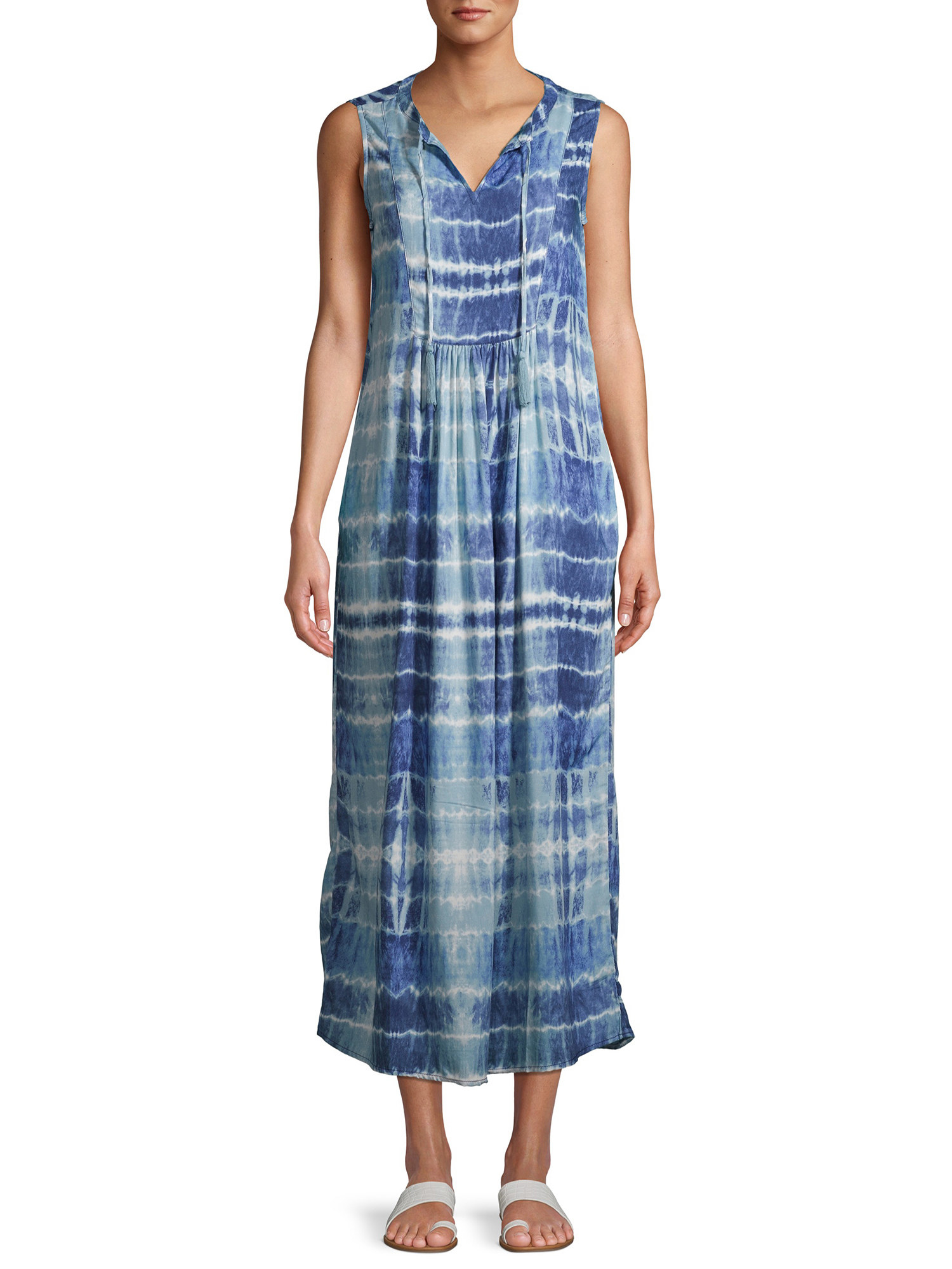 model in a maxi tie dye blue and white striped dress