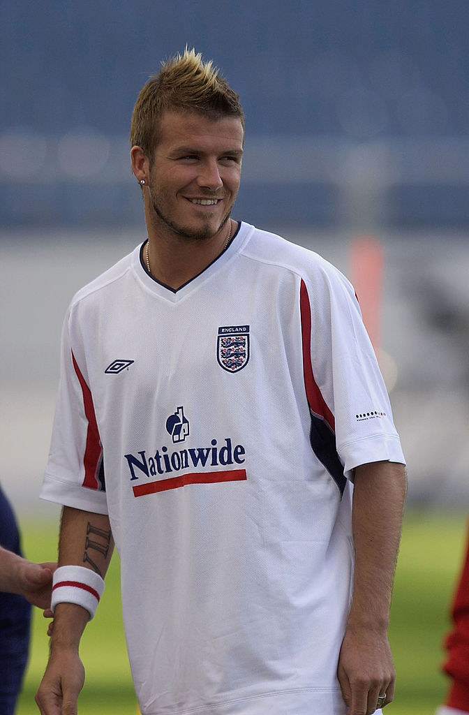 A photo of David Beckham during a practice sporting a faux hawks.