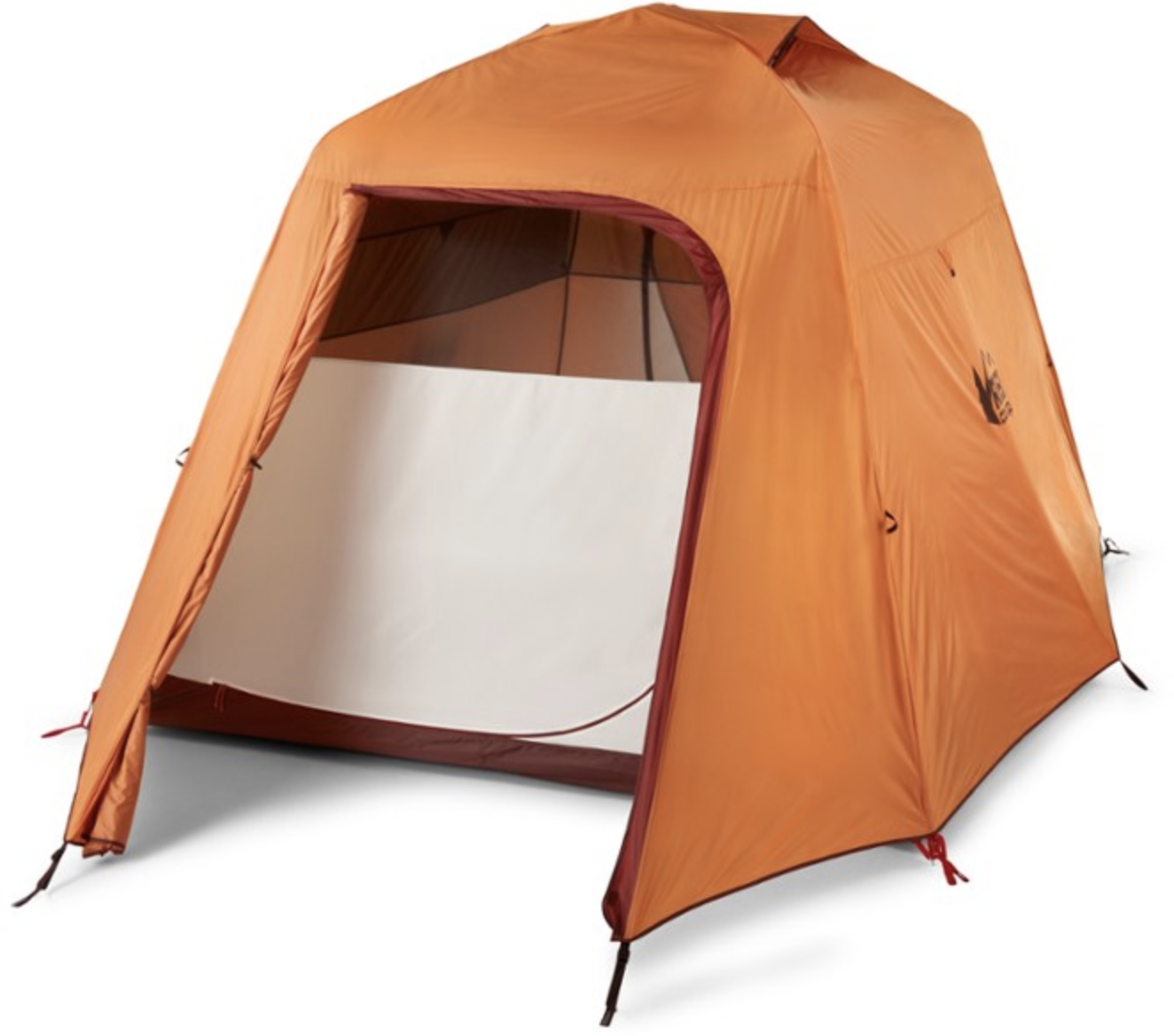 tall orange tent with rain fly