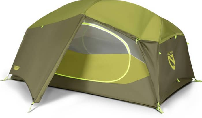 small green tent with rain fly