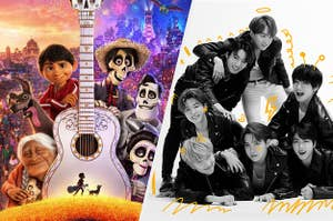A poster of the movie Coco and a picture of BTS