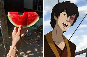 """On the left, someone holds up a watermelon slice, and on the right, Zuko from """"Avatar: The Last Airbender"""""""