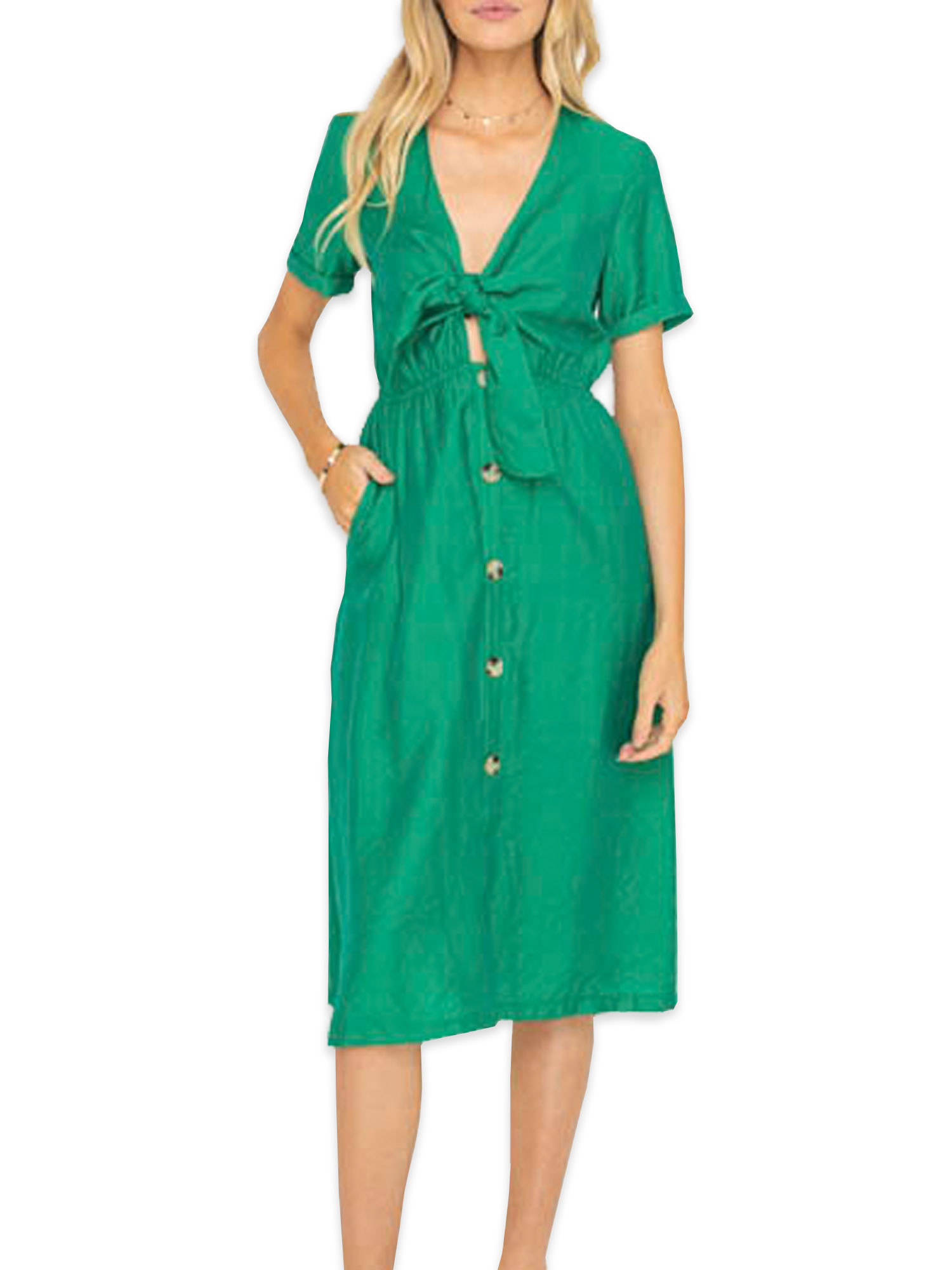 model in a green short sleeve button up midi dress