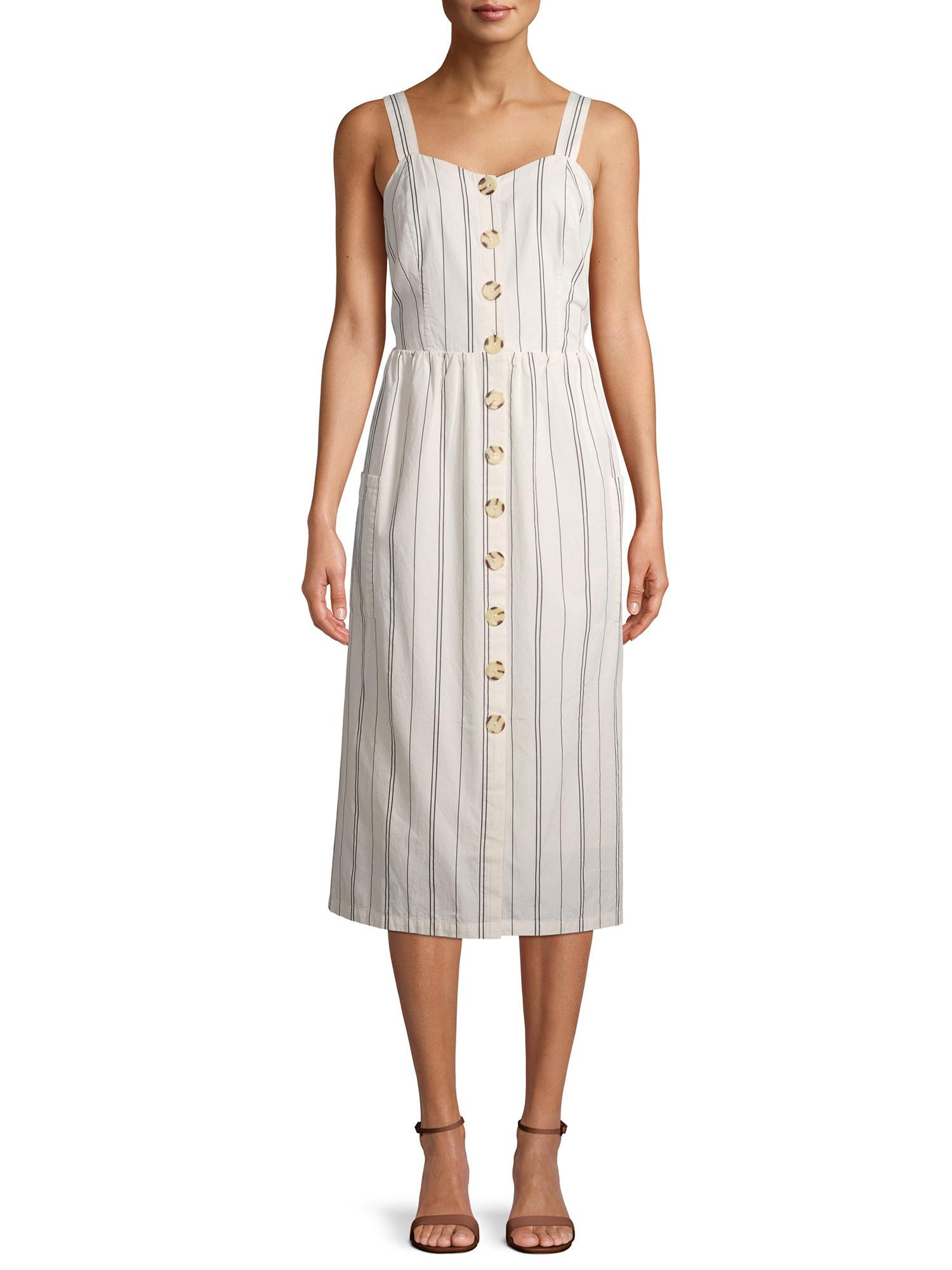 model in the sleeveless dress