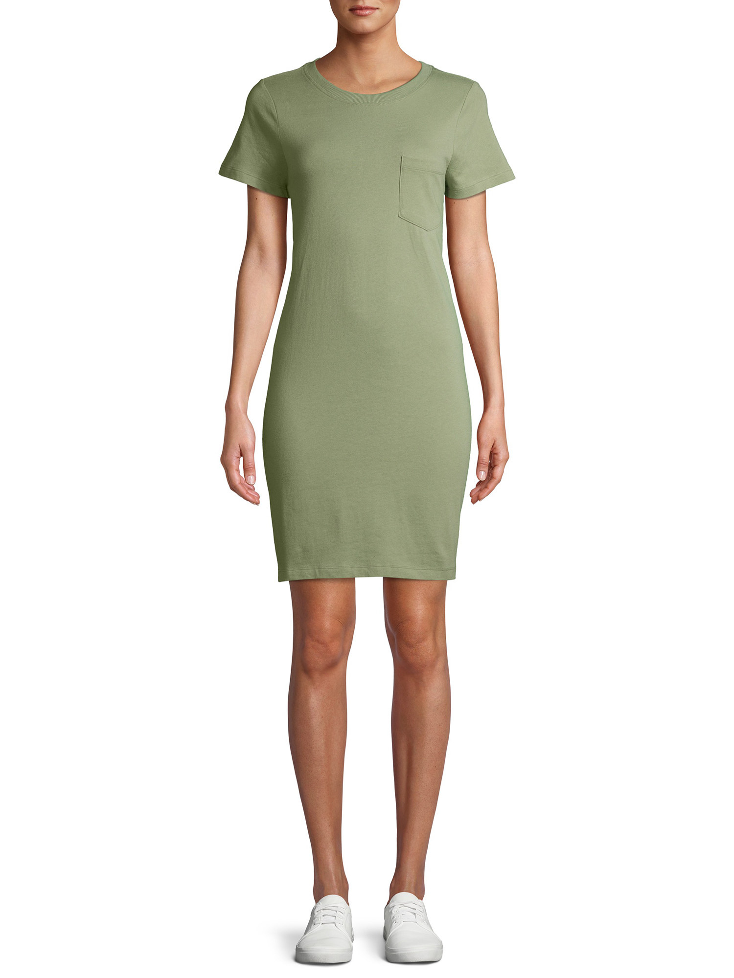 model in an olive green t-shirt dress