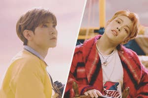 Images of Yeosang and Hongjoong from the Illusion music video