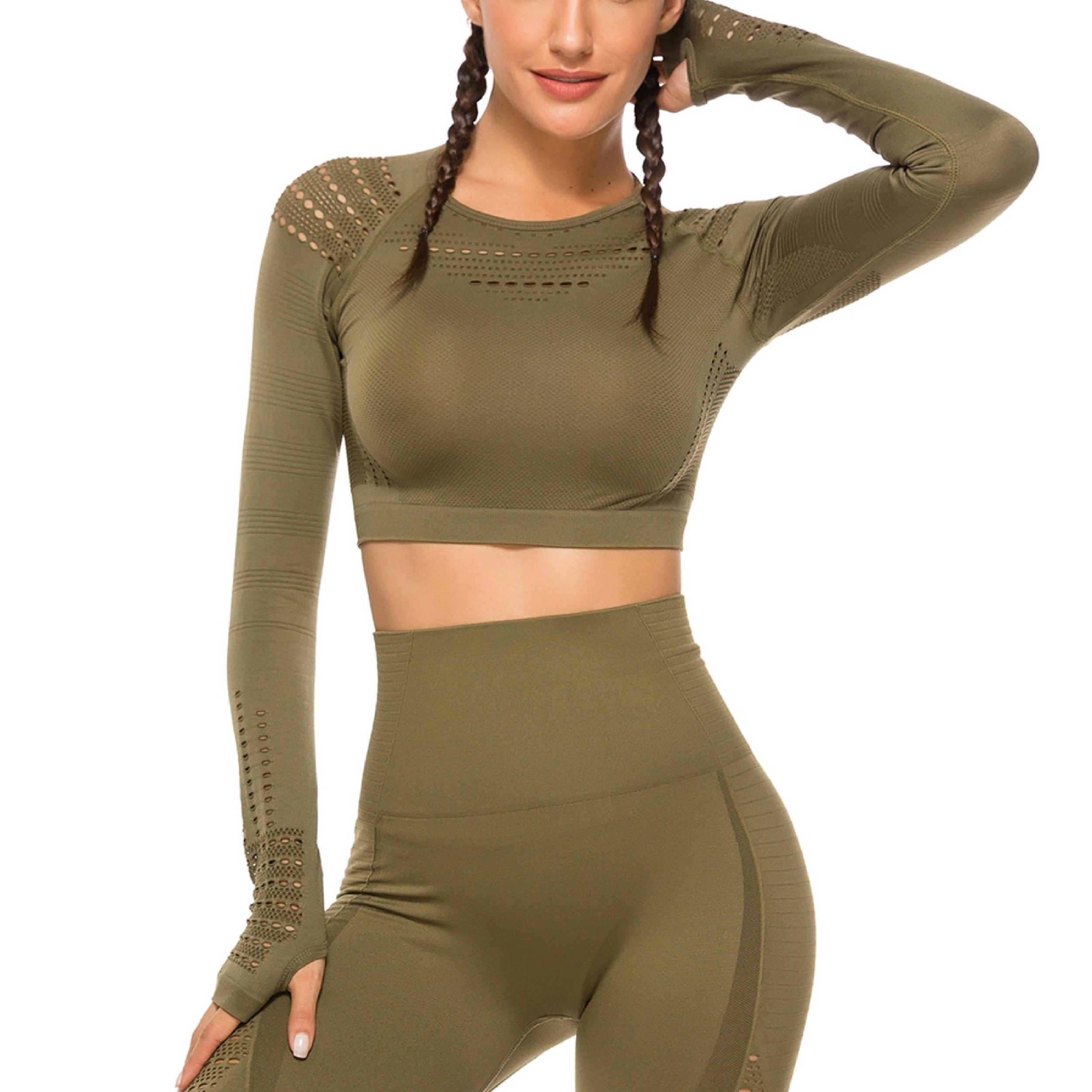 Model wearing the olive green crop top