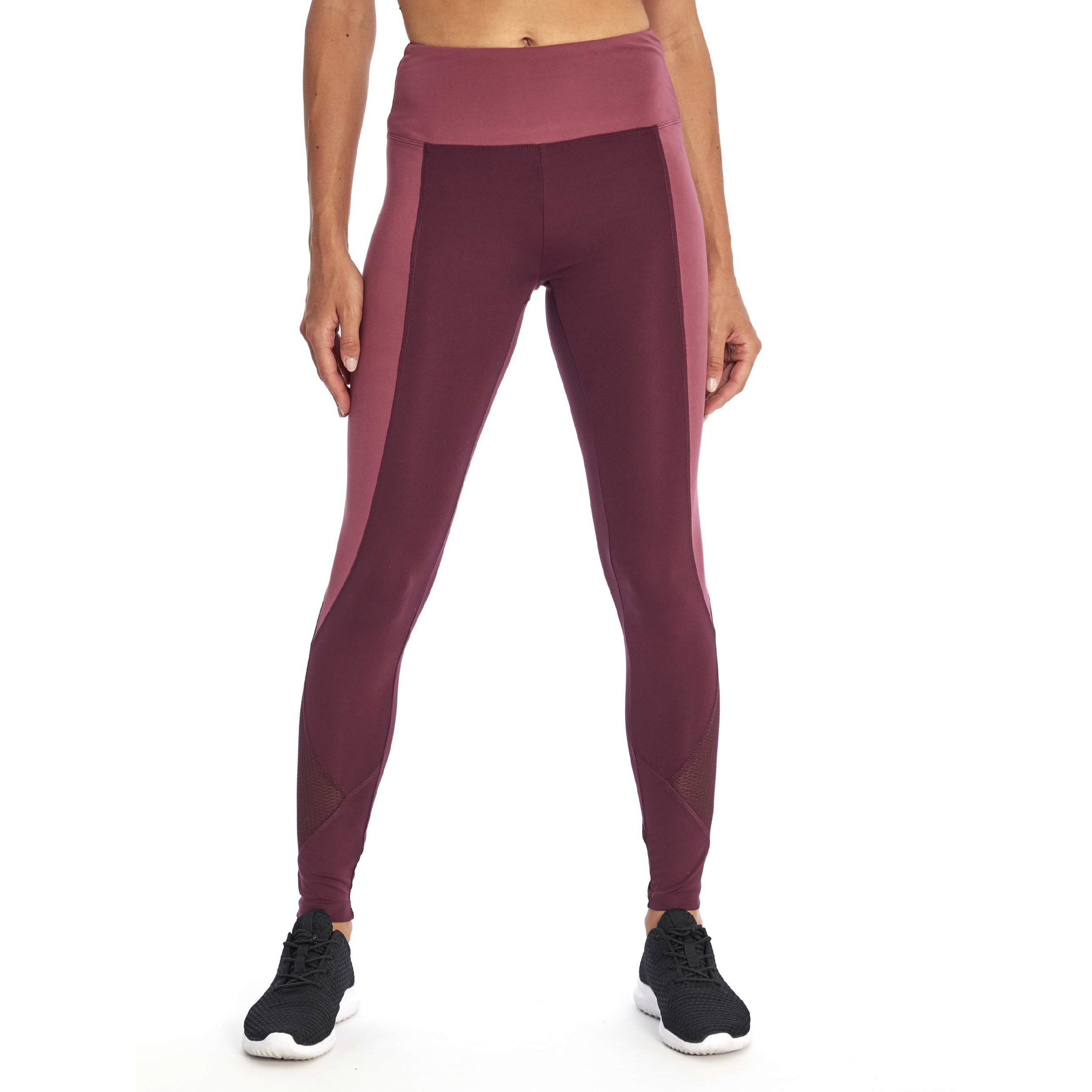 Model wearing the mauve leggings with pink side stripes