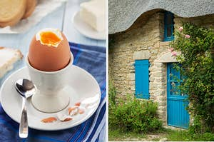 On the left, a soft boiled egg with a crack in the top on a plate with a spoon next to it, and on the right, the outside of a cottage, surrounded by greenery