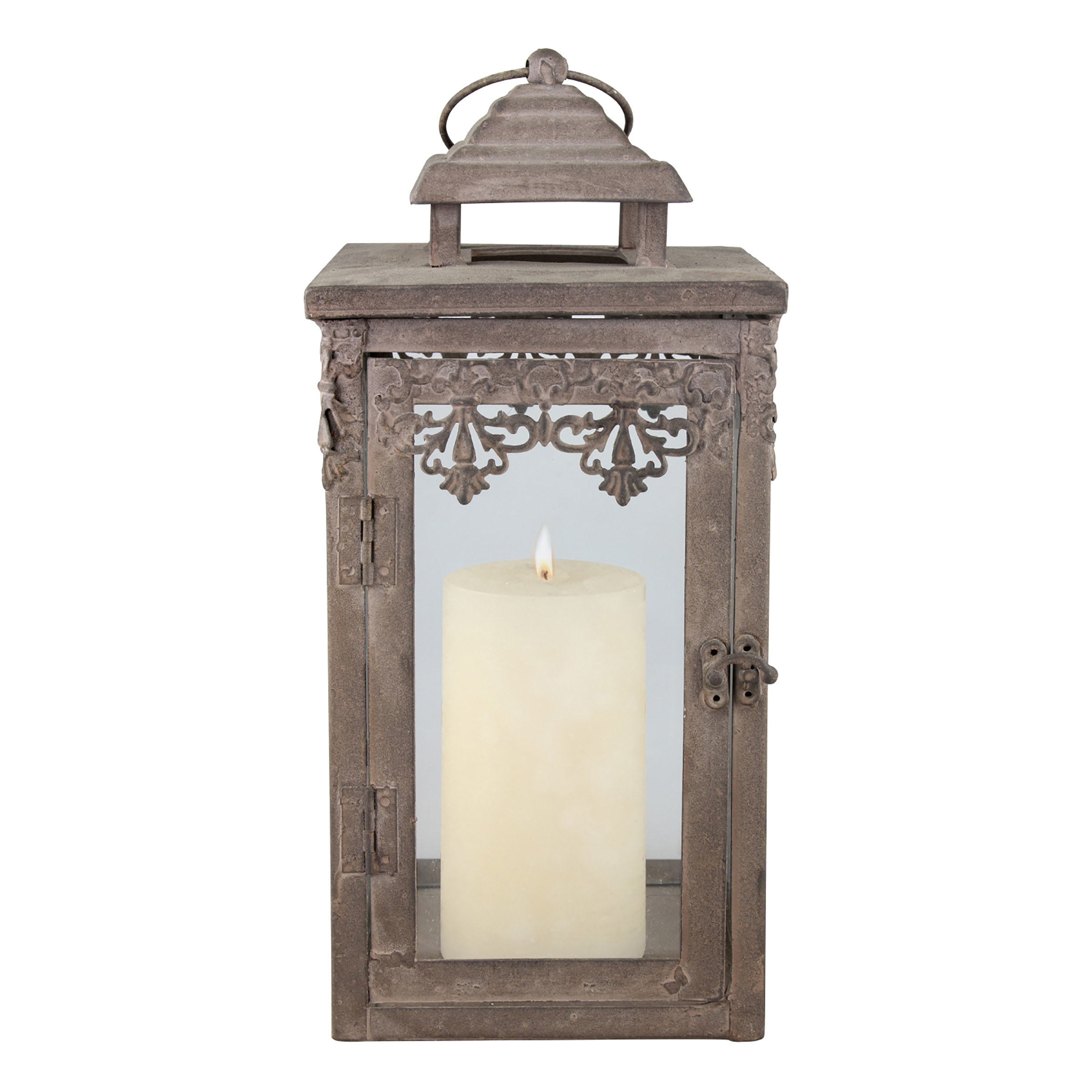 a washed brown metal lantern with a candle inside and small latch door