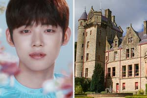 A photo of Yeonjun next to a photo of a sturdy, gothic stone castle