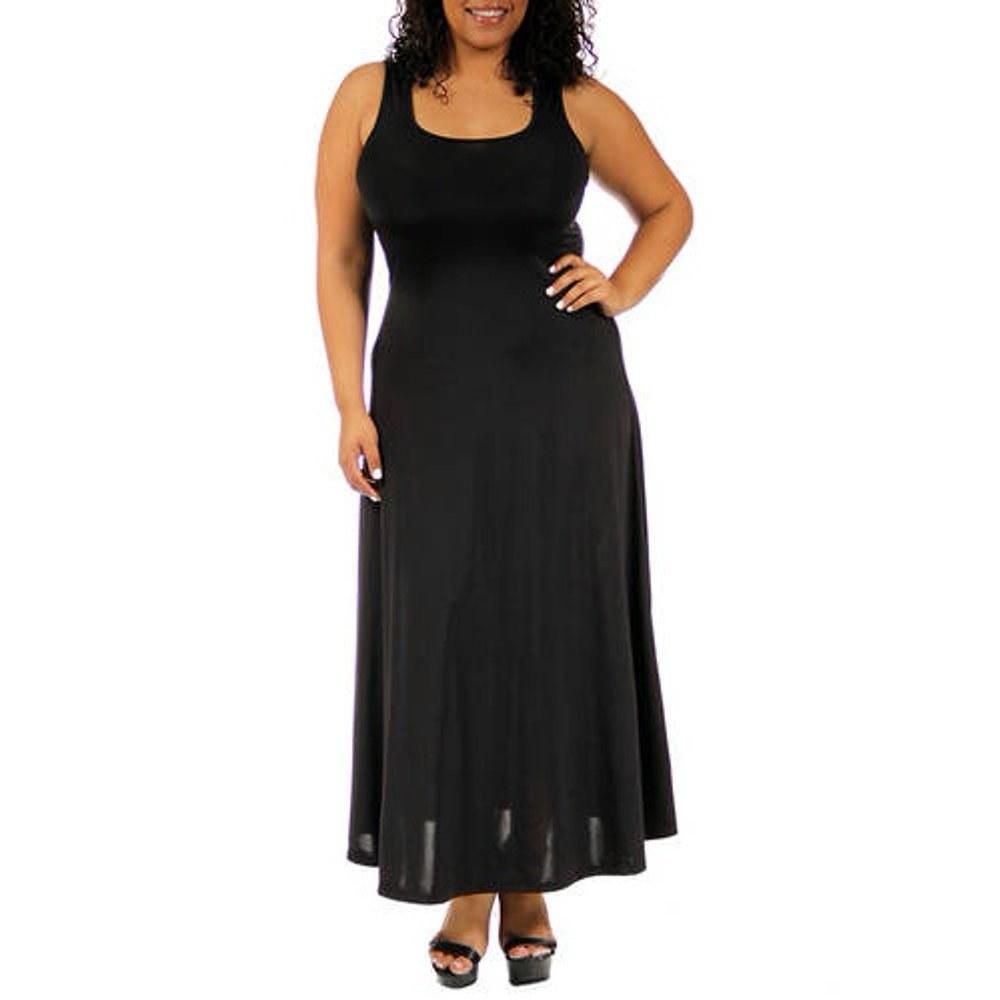 model in a black tank maxi dress