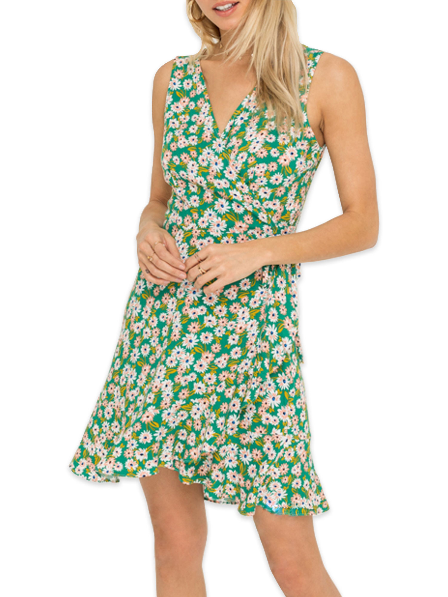 model in a green floral wrap dress with no sleeves