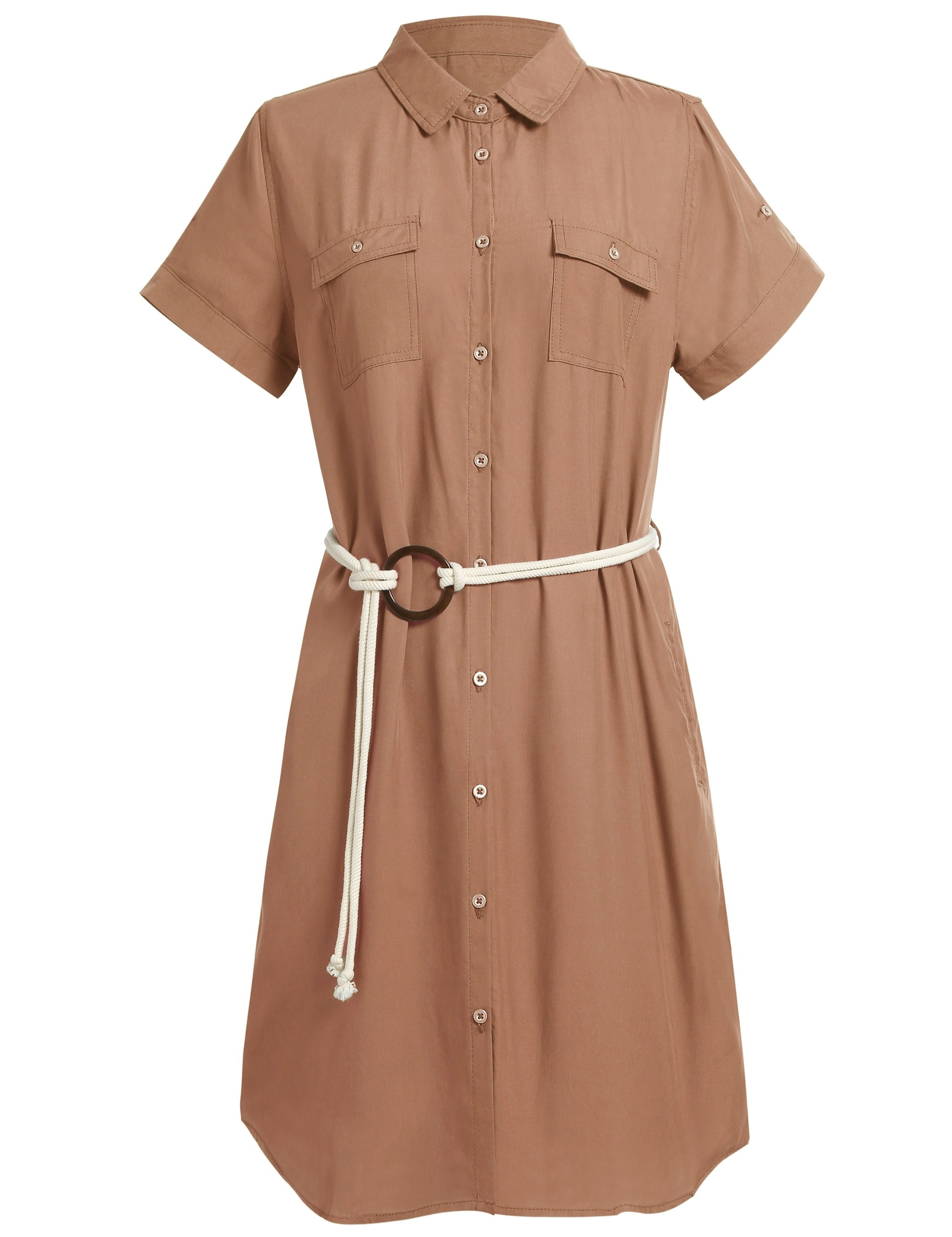 A beige belted button up short-sleeved midi dress