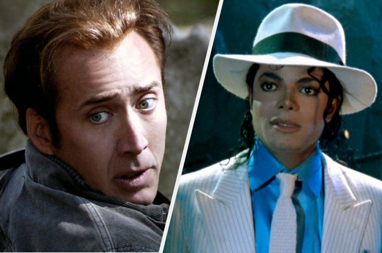 A split image showing close ups of Nicolas Cage and Michael Jackson both in separate movies