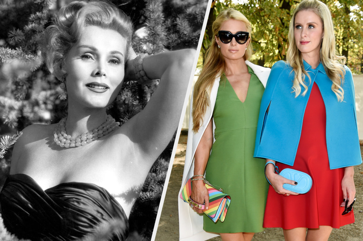 A split image showing a black and white getty image of pin up girl Zsa Zsa Gabor and a getty image of Paris and Nicky Hilton dressed in chic colourful dresses and standing outside at a fashion event