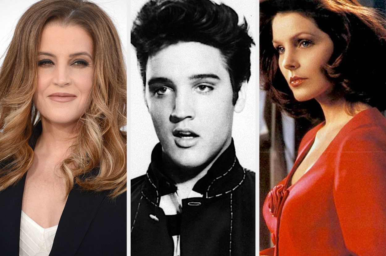 A split image showing close ups of Lisa Marie Presley at an event, Elvis Presley in black and white in the movie Jailhouse Rock and Lisa Marie Presley in a red blouse in the movie Naked Gun 2