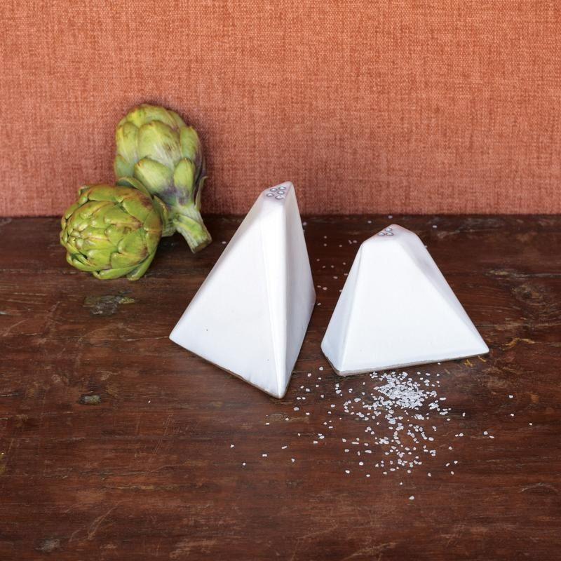 Angular pyramid salt and pepper shakers in white