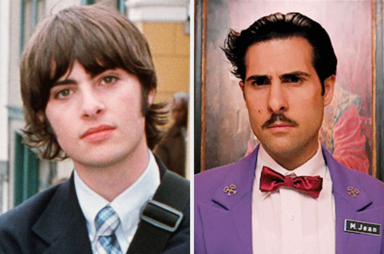 A split image showing Rob Schwartzman in school uniform in the movie The Princess Diaries and Jason Schwartzman in hotel uniform from the movie The Grand Budapest Hotel