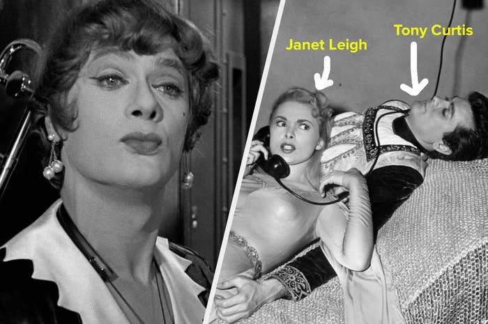 A split image showing Tony Curtis dressed as a woman in Some Like It Hot and the getty image of him lying down off set with her wife Janet Leigh who is on the phone