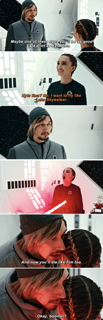 """Adam Driver spoofing his """"Star Wars"""" character, Kylo Ren, killing someone with a lightsaber, unable to turn away from the Dark Side"""