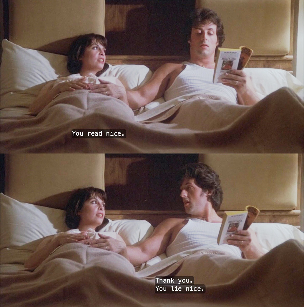 A split image from the movie Rocky 2 in which Rocky and Adrian are in bed and Adrian says you read nice and Rocky replies you lie nice