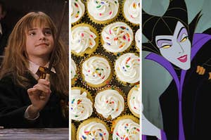 "On the left, Hermione Granger holds a wand, in the middle, vanilla cupcakes topped with vanilla frosting and sprinkles, and on the right, Maleficent from ""Sleeping Beauty"""