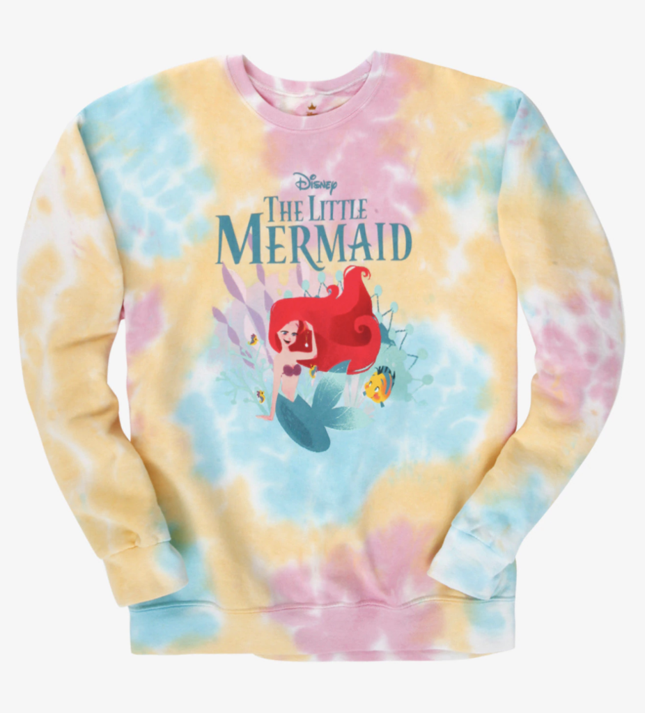 a pink yellow blue and purple tie dye pullover with the little mermaid logo and ariel and flounder on it