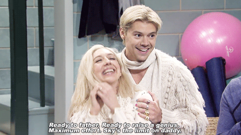 Harry as an Icelandic man, assisting his wife in a birthing class, being over the top with strange humor and charm