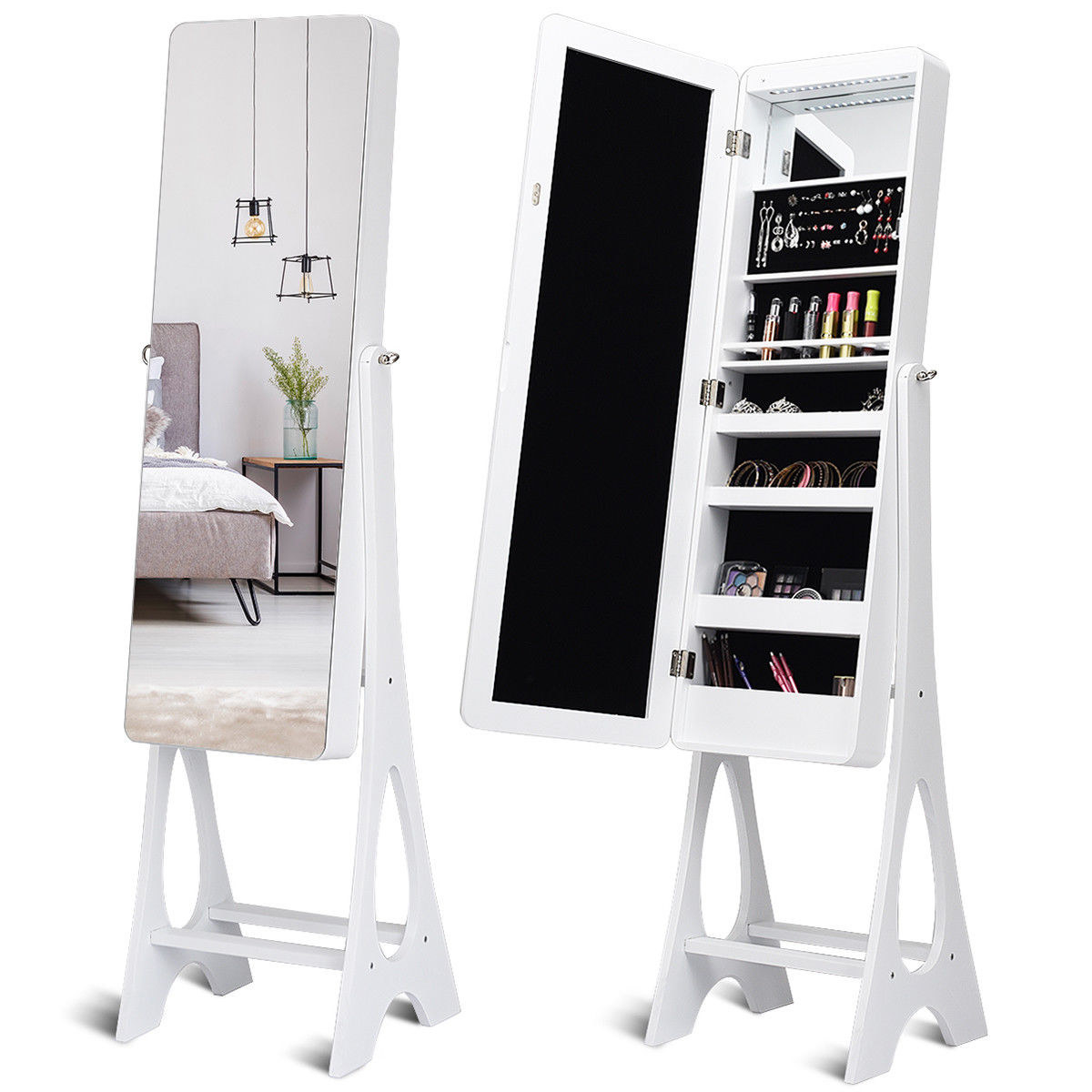 The tall white standing mirror with interior jewelry organizer