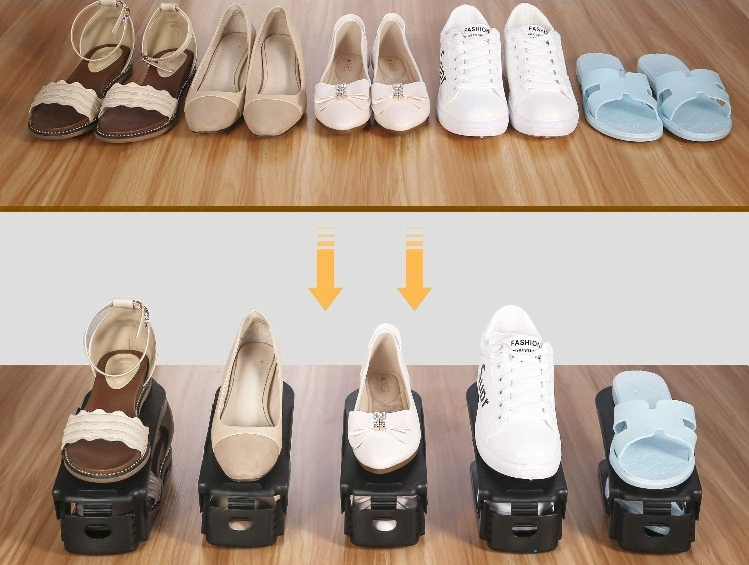 Five pairs of shoes lined up without the shoe stackers and the same fie pairs of shoes in the shoe stacks