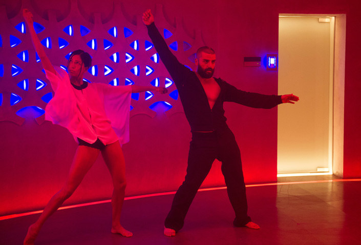 "Two people dancing in ""Ex Machina."""