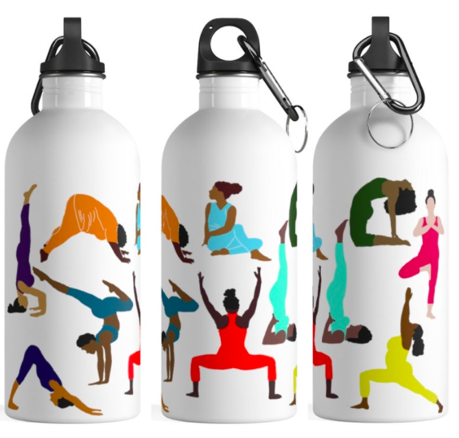 White water bottle with a colorful yoga pose print