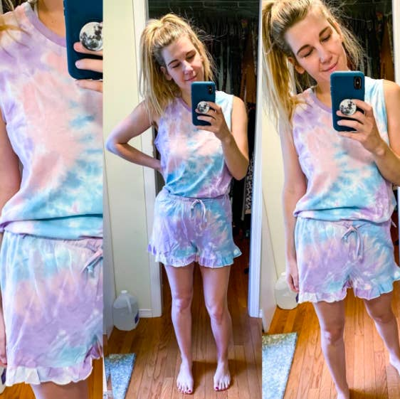 A triptych of reviewer selfies in the blue and purple sleeveless set with ruffle-hemmed shorts