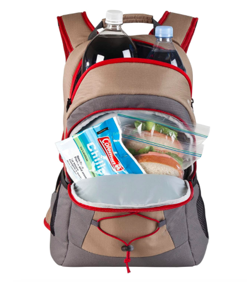 Gray, tan, and red backpack with a cooler compartment filled with sandwiches and soda