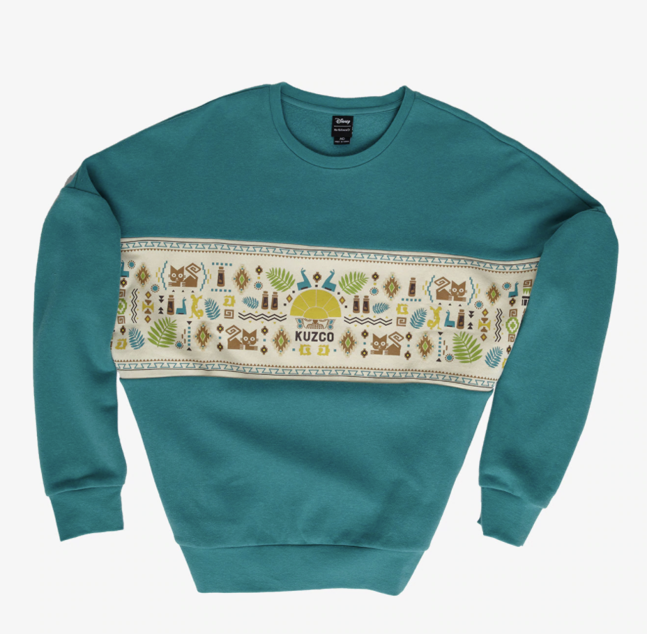 the sweatshirt with an Emperor's New Groove design