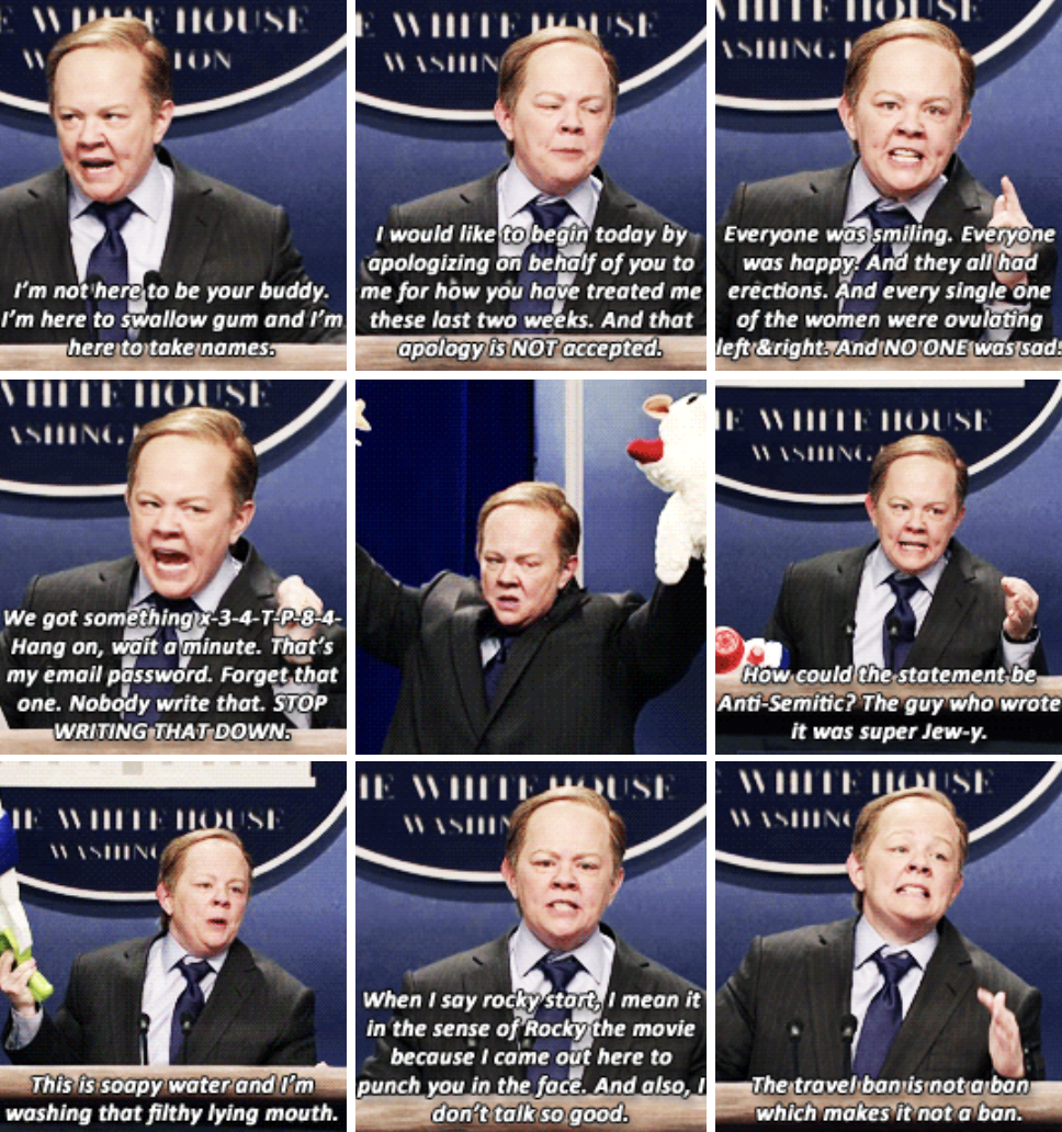Melissa McCarthy impersonating Sean Spicer, wearing a suit, with an angry and frustrated expression on her face