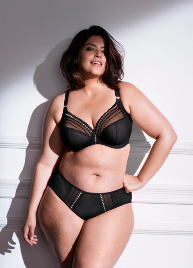 A model wearing the bra in black
