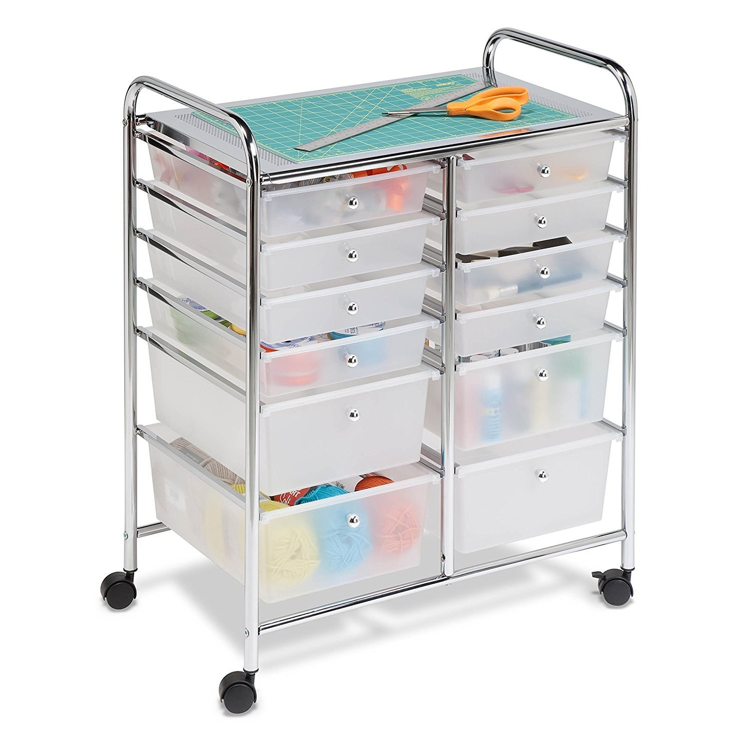 The white transparent rolling cart with eight small drawers and four large drawers