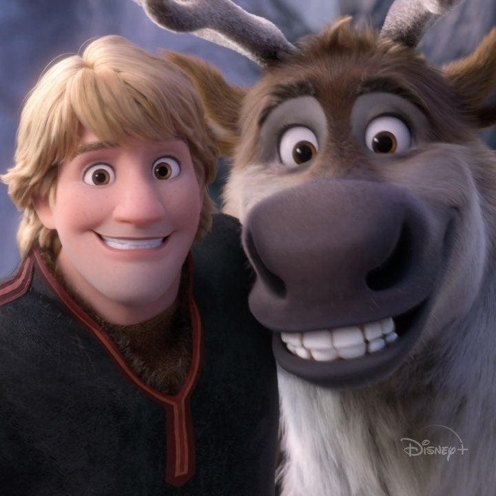 """Kristoff and Sven the reindeer from """"Frozen"""""""