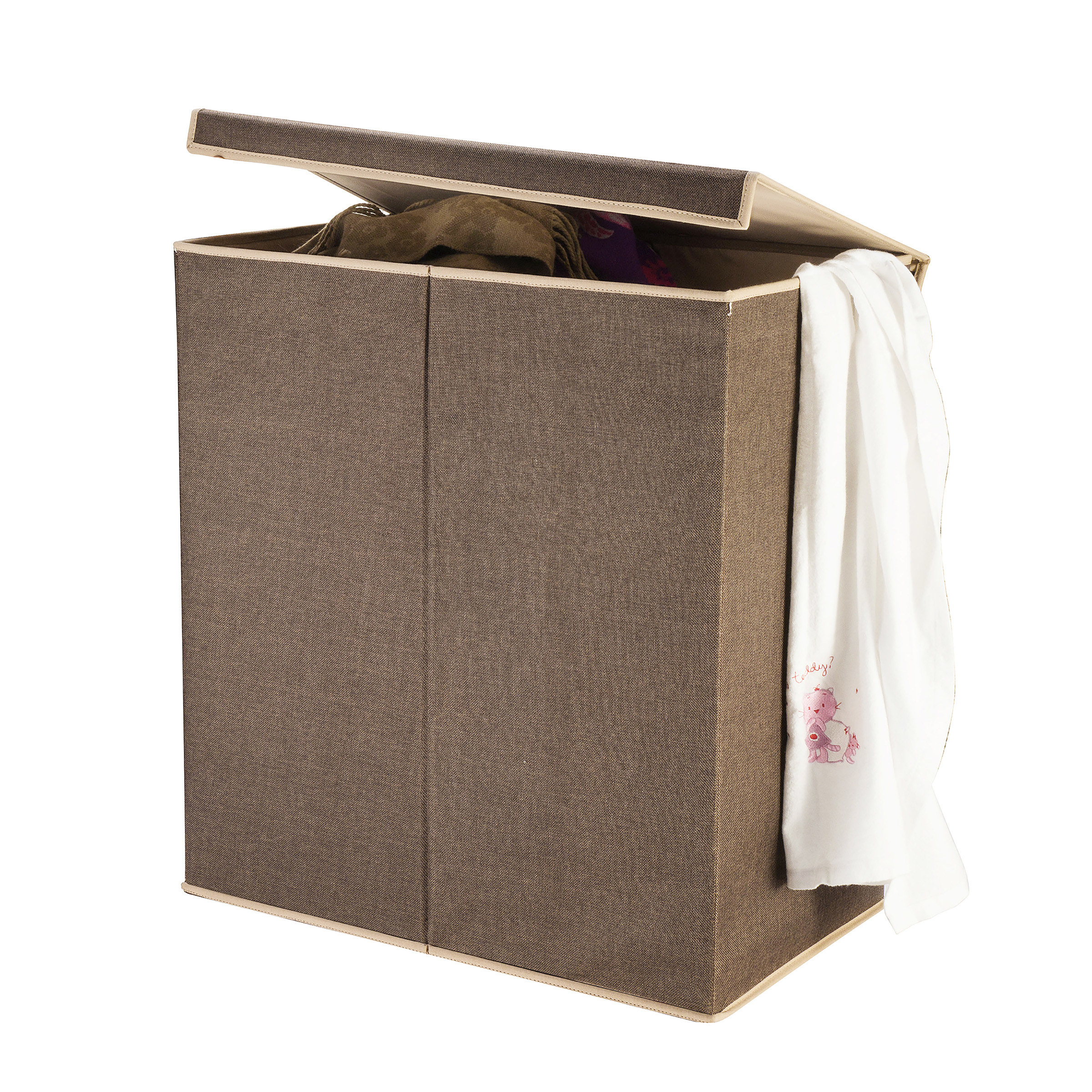 The two-compartment brown laundry hamper
