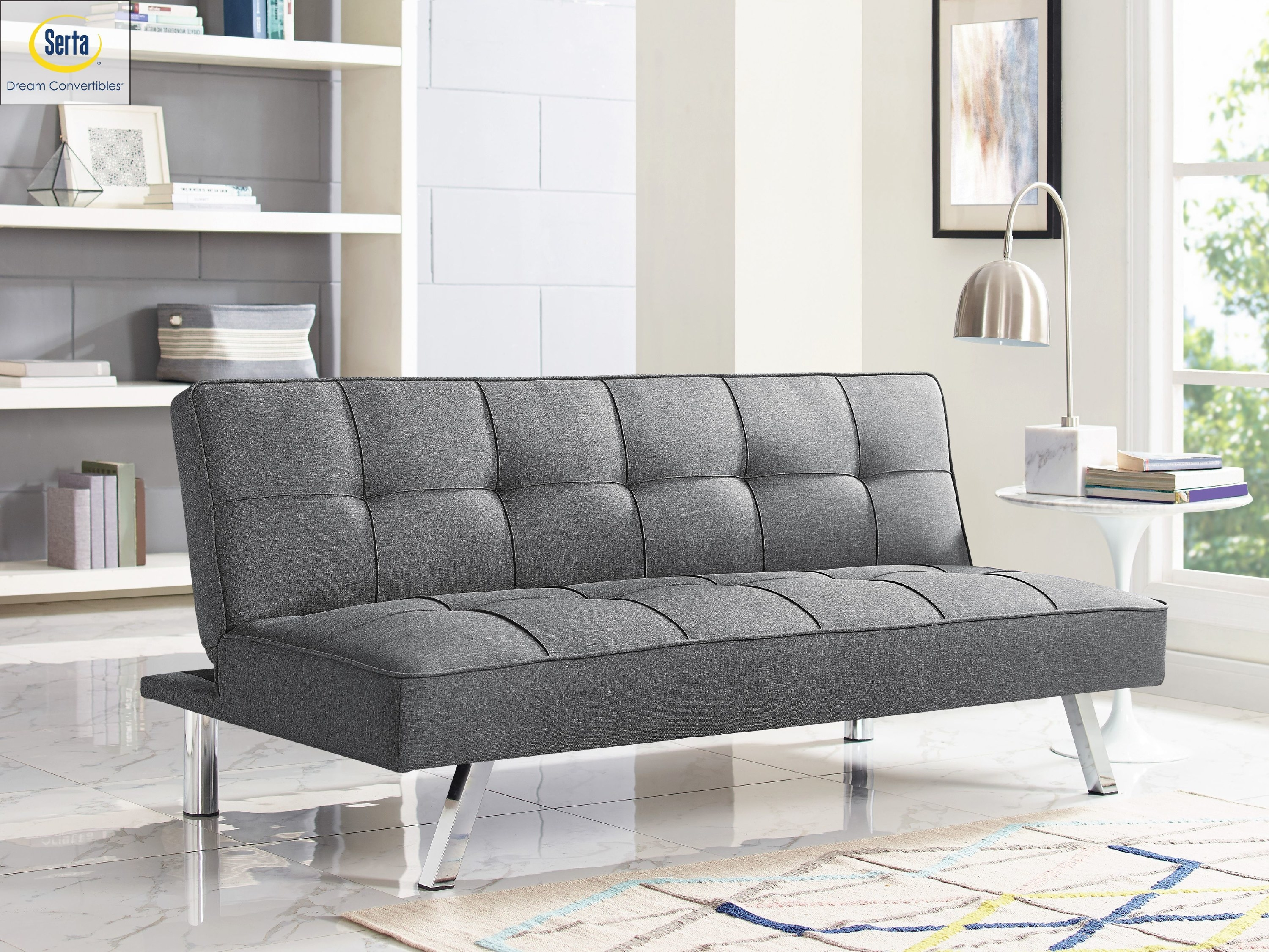 The quilted grey fabric futon