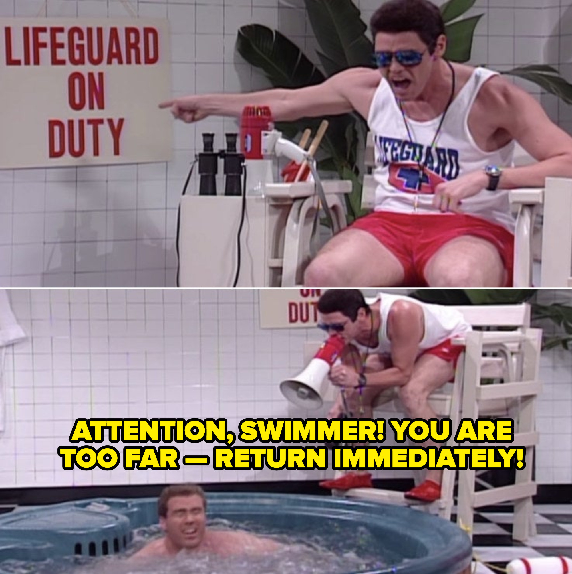 Jim Carrey acting as a lifeguard for a mini hot tub, sitting in a lifeguard chair, yelling at Will Ferrell with a megaphone