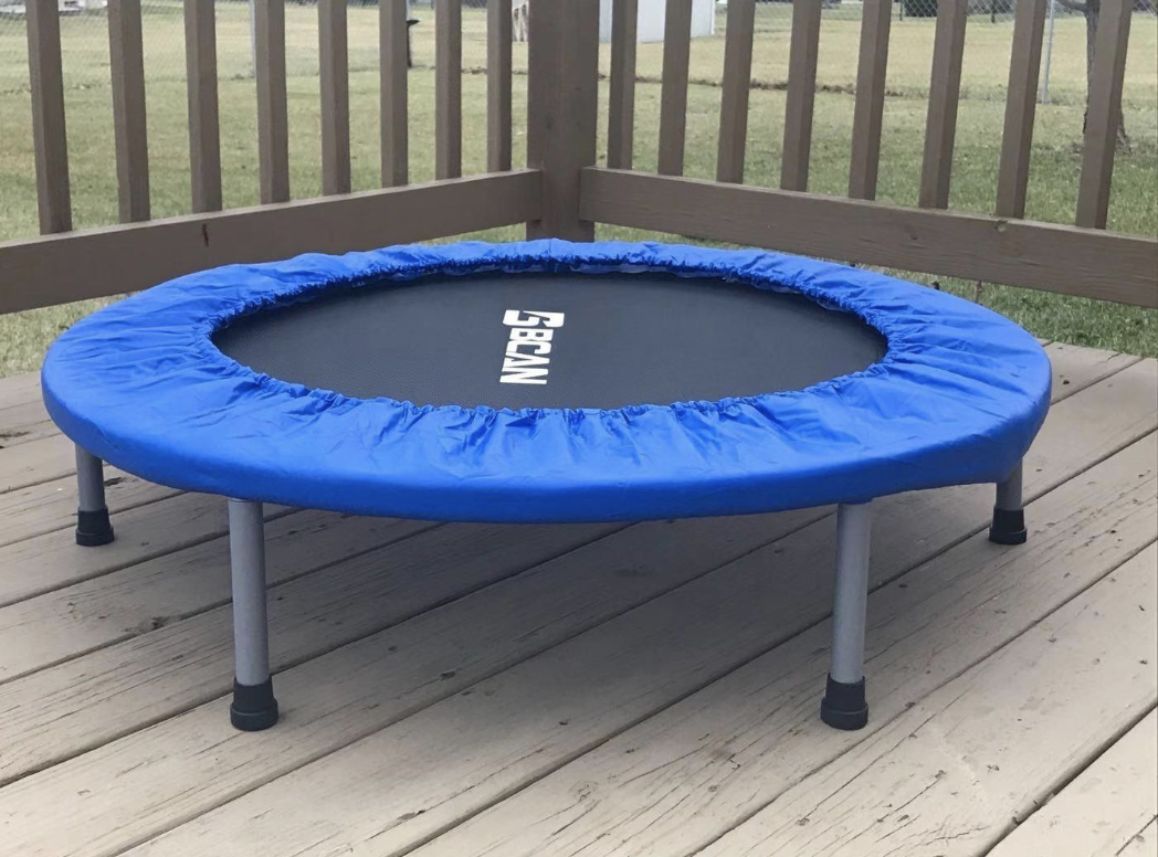 Reviewer image of the small trampoline with blue cover at the edges
