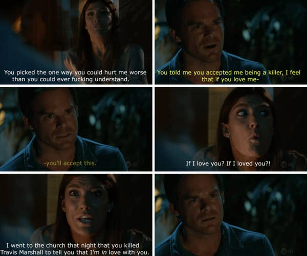 11. In Dexter, Debra comes to terms with the fact that her stepbrother is a serial killer and that she has romantic feelings for him.